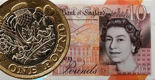 Ten Pound Note and pound coin
